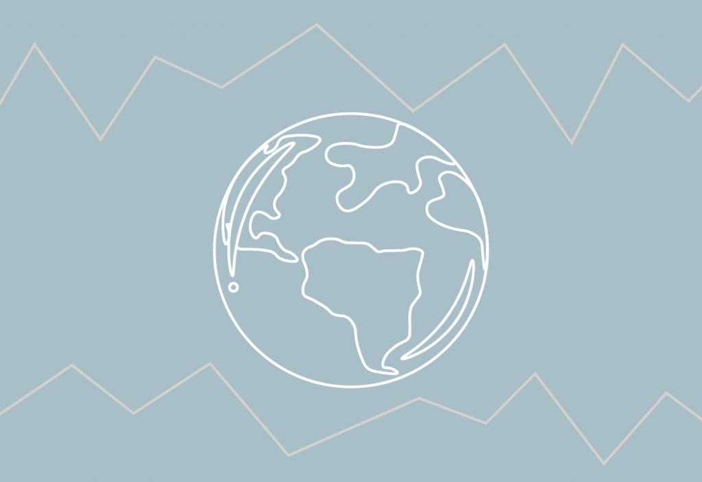 Cúpula do Clima - Imagem do globo terrestre em um fundo azul.