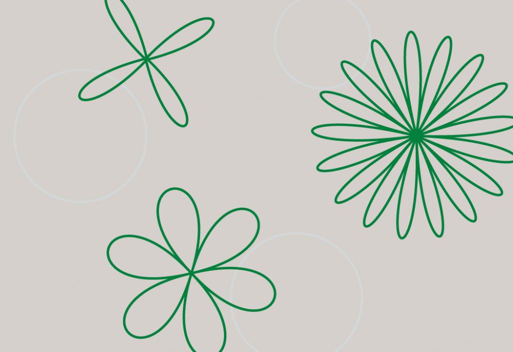 Figura de fundo cinza claro com padronagens circulares da cor verde.